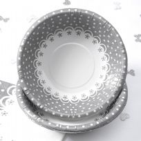Chic Boutique Bowls - White & Silver (8)